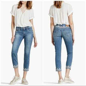 Lucky Brand Sweet Crop Embroidered Mid Rise Relax